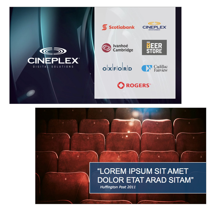 Brand Strategy and credentials presentation for Cineplex Digital Solutions