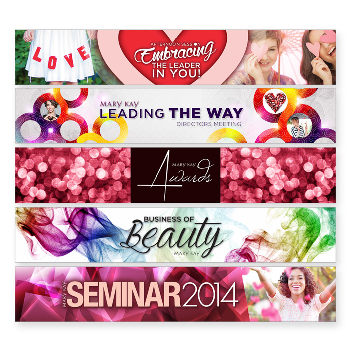 Designs of various Mary Kay annual event seminars